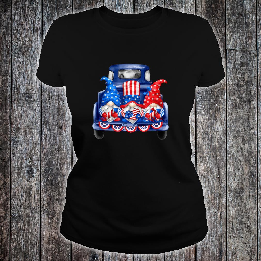 4th of July Gnomies Independence Day Three Patriotic Gnomes Shirt ladies tee