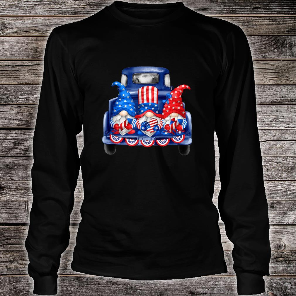 4th of July Gnomies Independence Day Three Patriotic Gnomes Shirt long sleeved