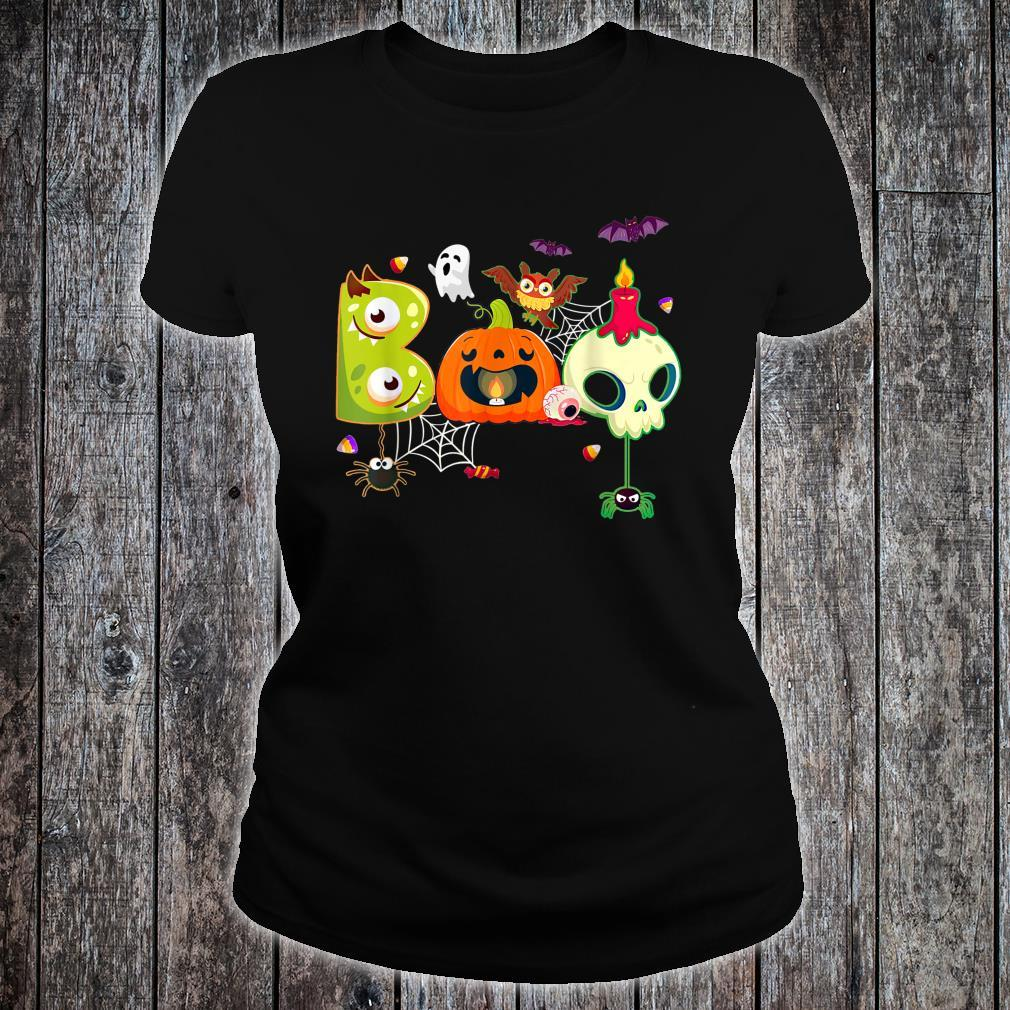 Boo Spiders And Witch Hat Skull Halloween Costume Shirt ladies tee