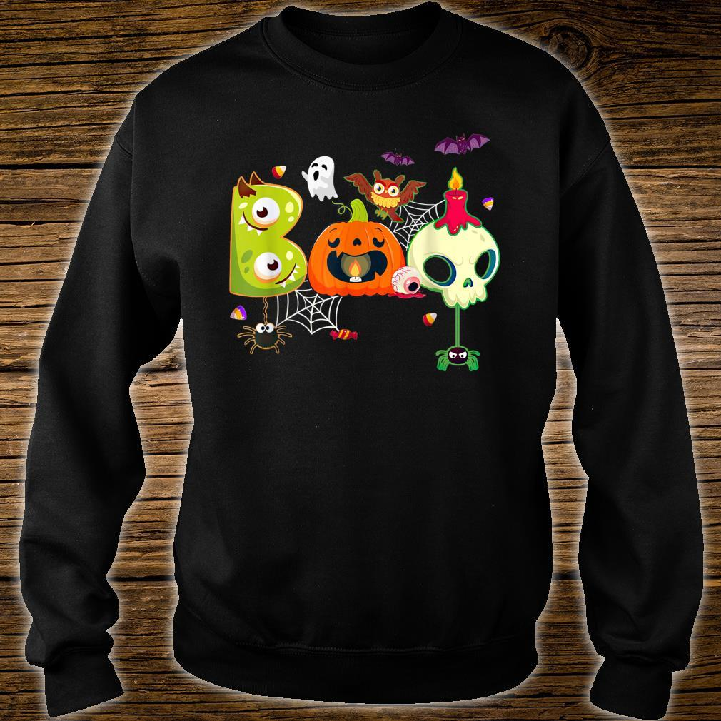 Boo Spiders And Witch Hat Skull Halloween Costume Shirt sweater