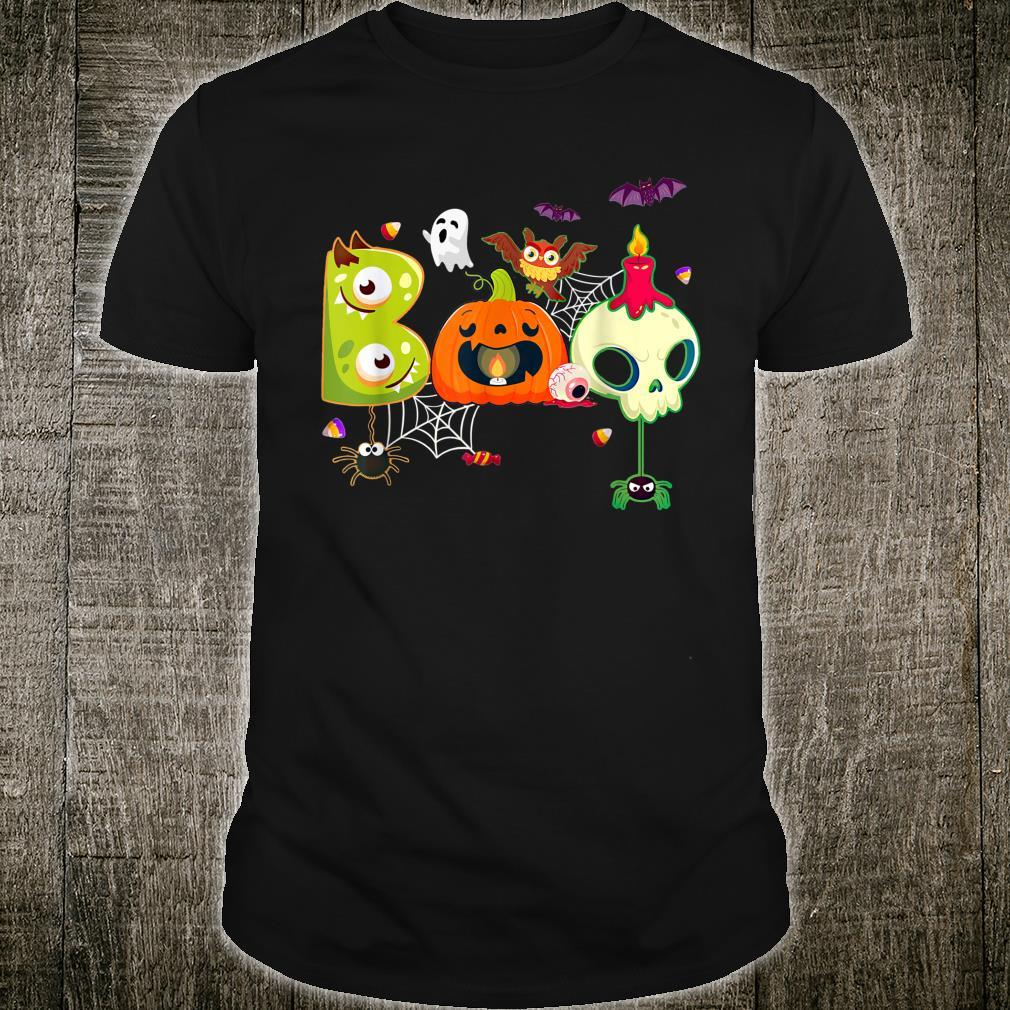 Boo Spiders And Witch Hat Skull Halloween Costume Shirt