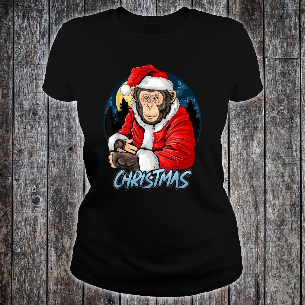 Chimpanzee Monkey Christmas santa claus cute chimpanzee Shirt ladies tee