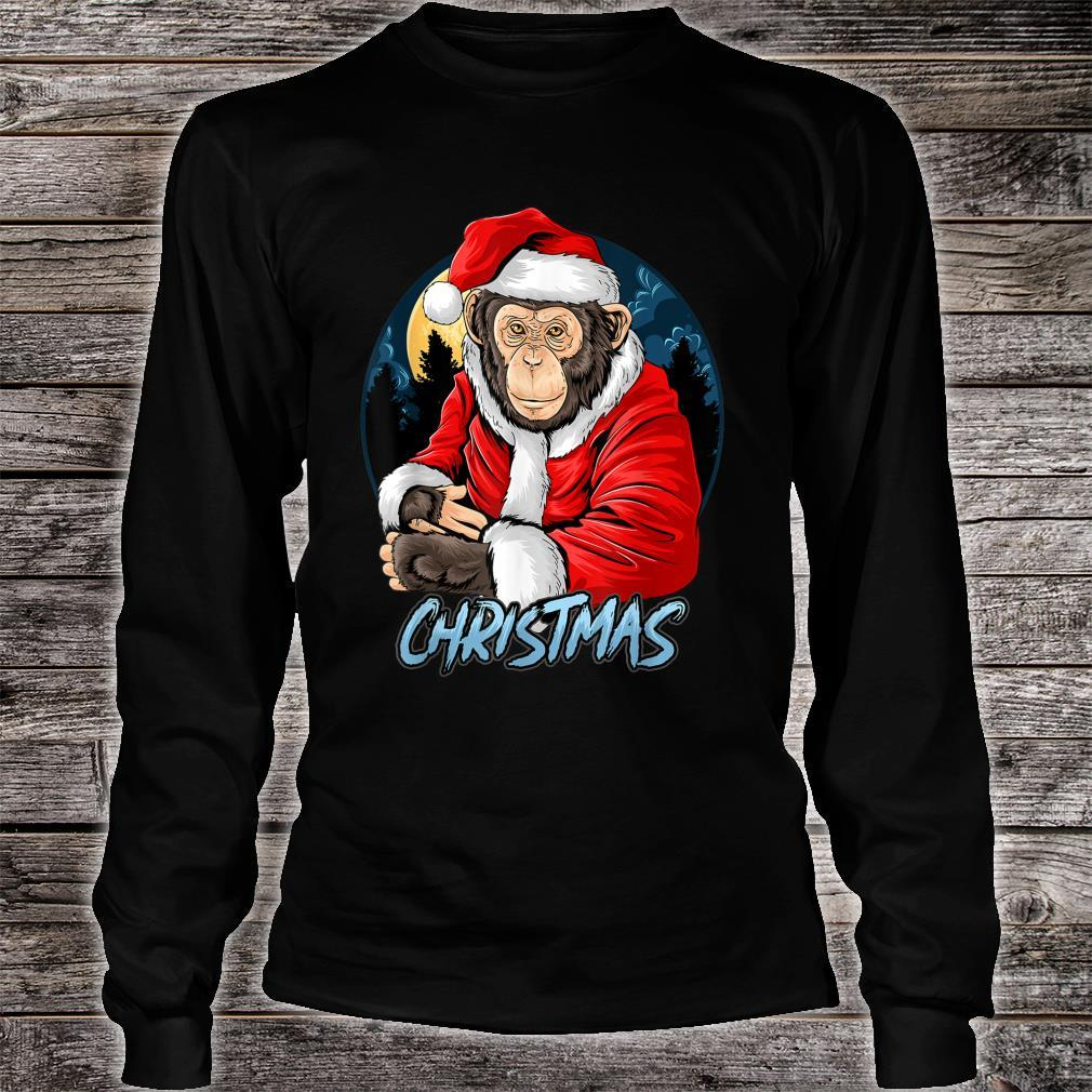 Chimpanzee Monkey Christmas santa claus cute chimpanzee Shirt long sleeved