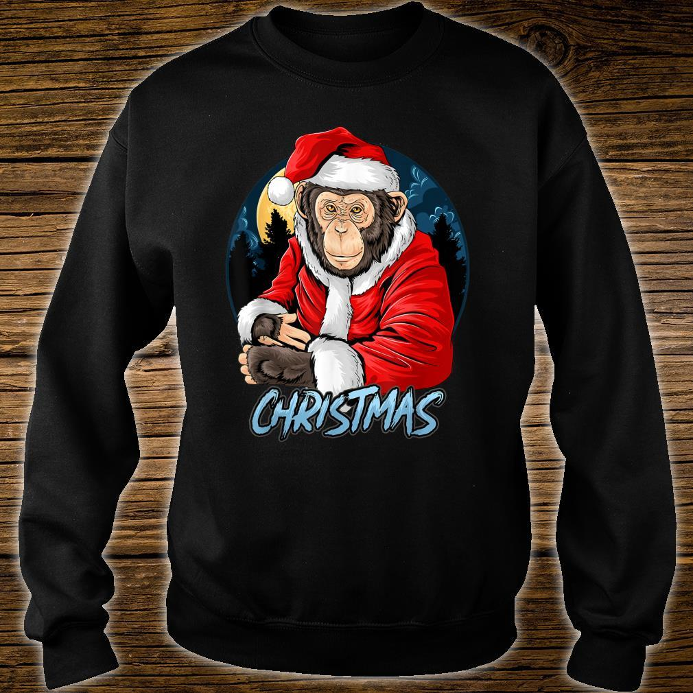 Chimpanzee Monkey Christmas santa claus cute chimpanzee Shirt sweater