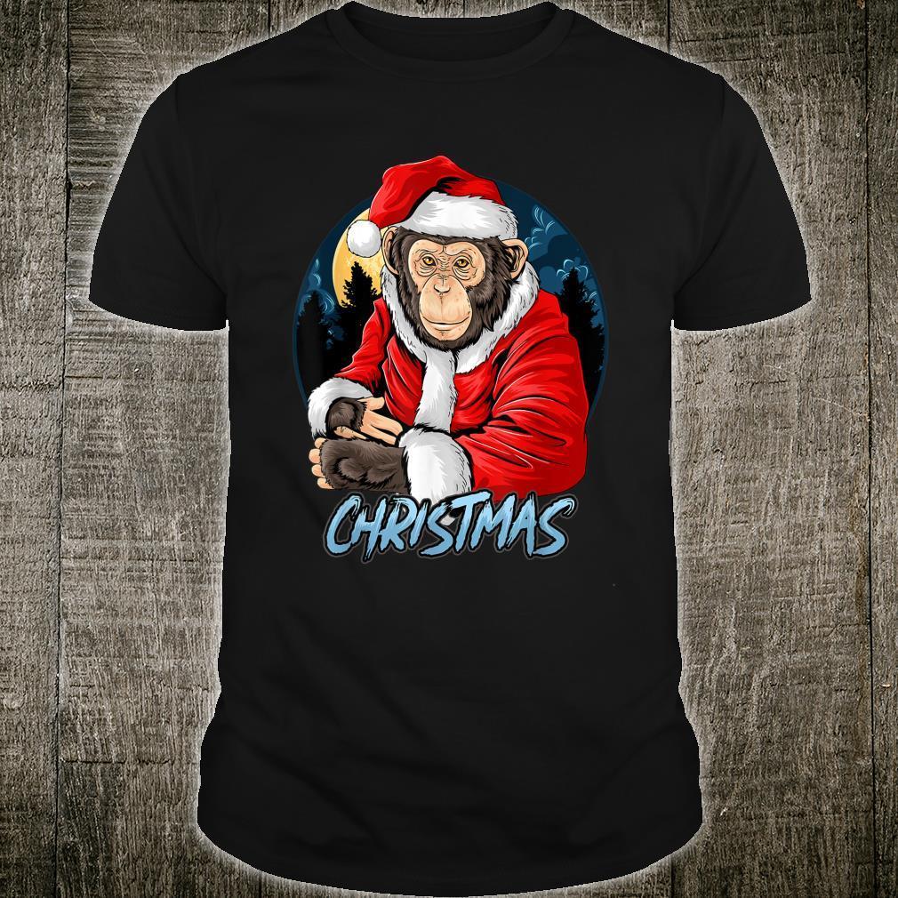 Chimpanzee Monkey Christmas santa claus cute chimpanzee Shirt