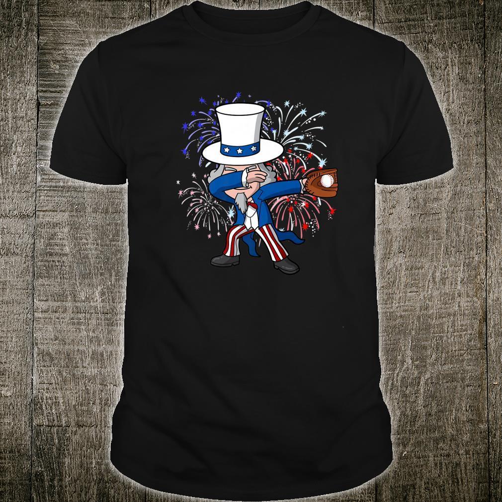 Dabbing Uncle Sam Baseball 4th of July Independence Day USA Shirt