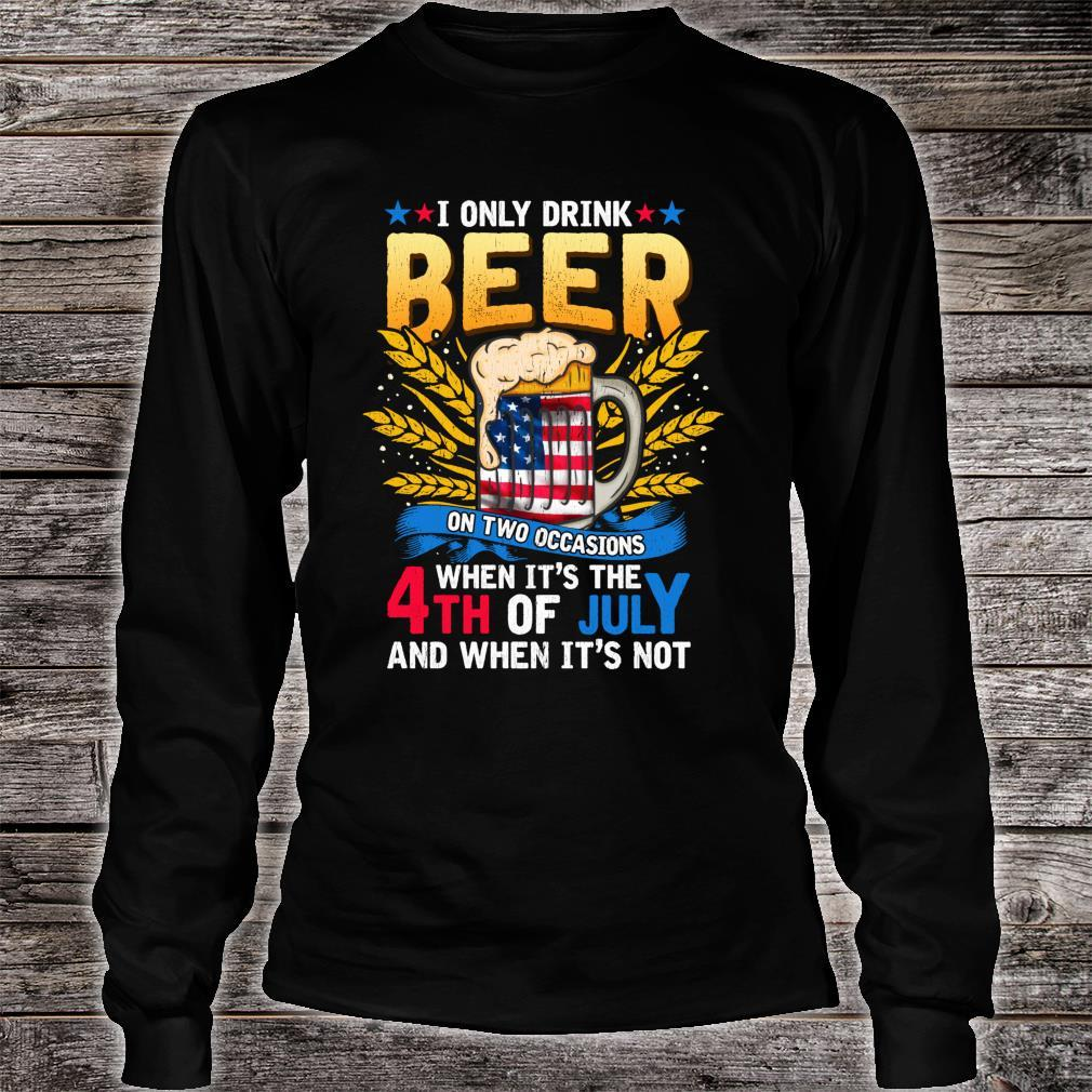 Independence Day Beer Drinking 4th of July Joke Quote Shirt long sleeved