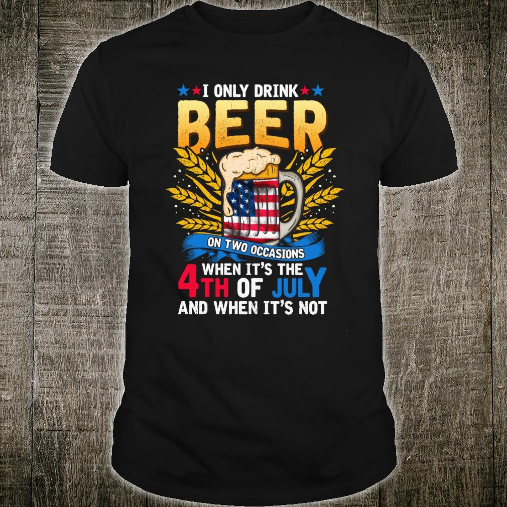 Independence Day Beer Drinking 4th of July Joke Quote Shirt