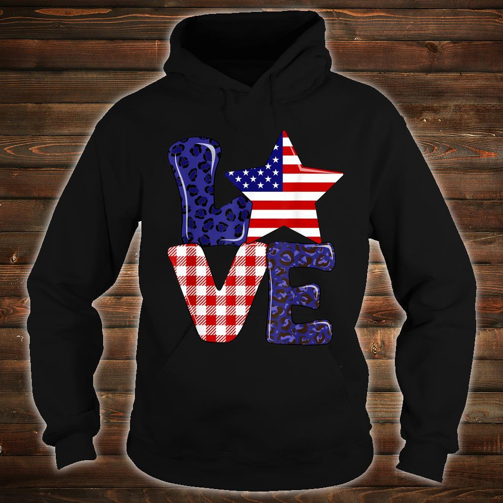 Love USA 4th Of July Independence Day Leopard And Plaid Shirt hoodie