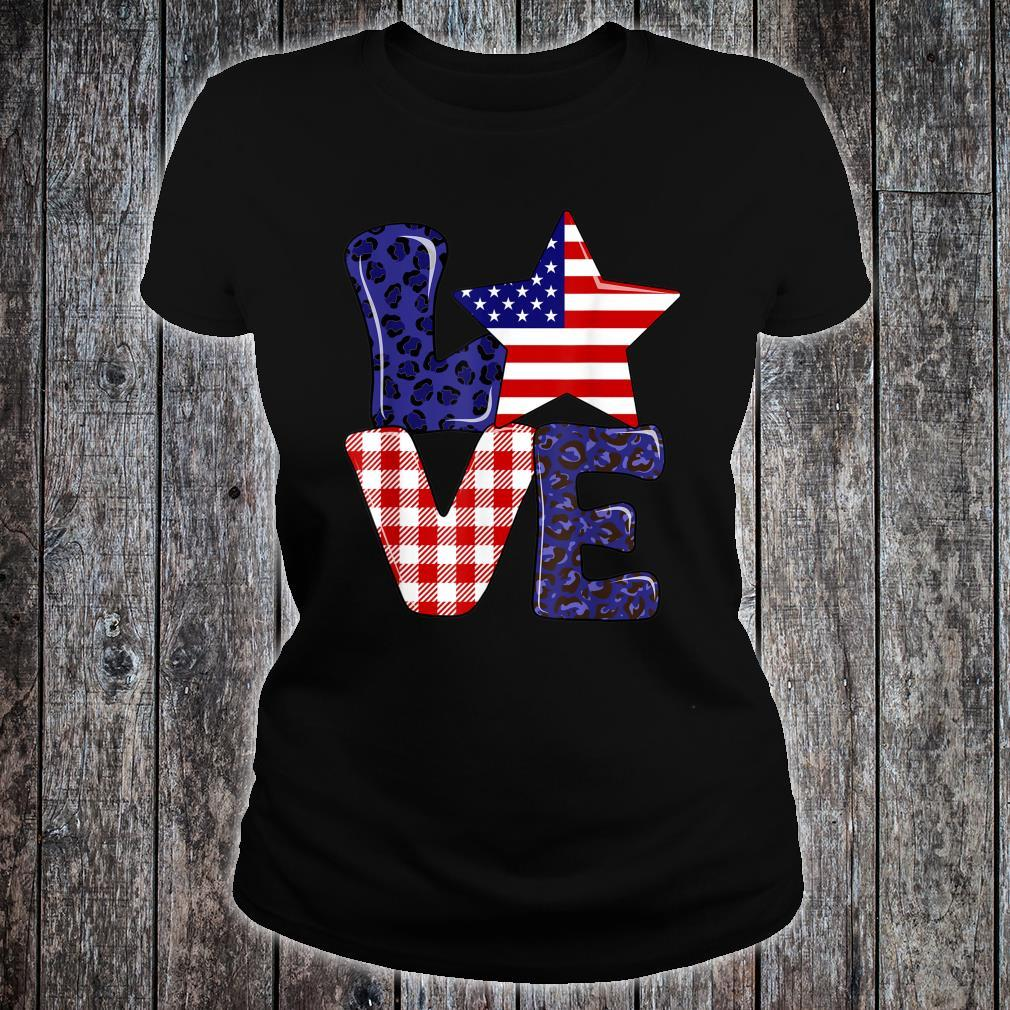Love USA 4th Of July Independence Day Leopard And Plaid Shirt ladies tee