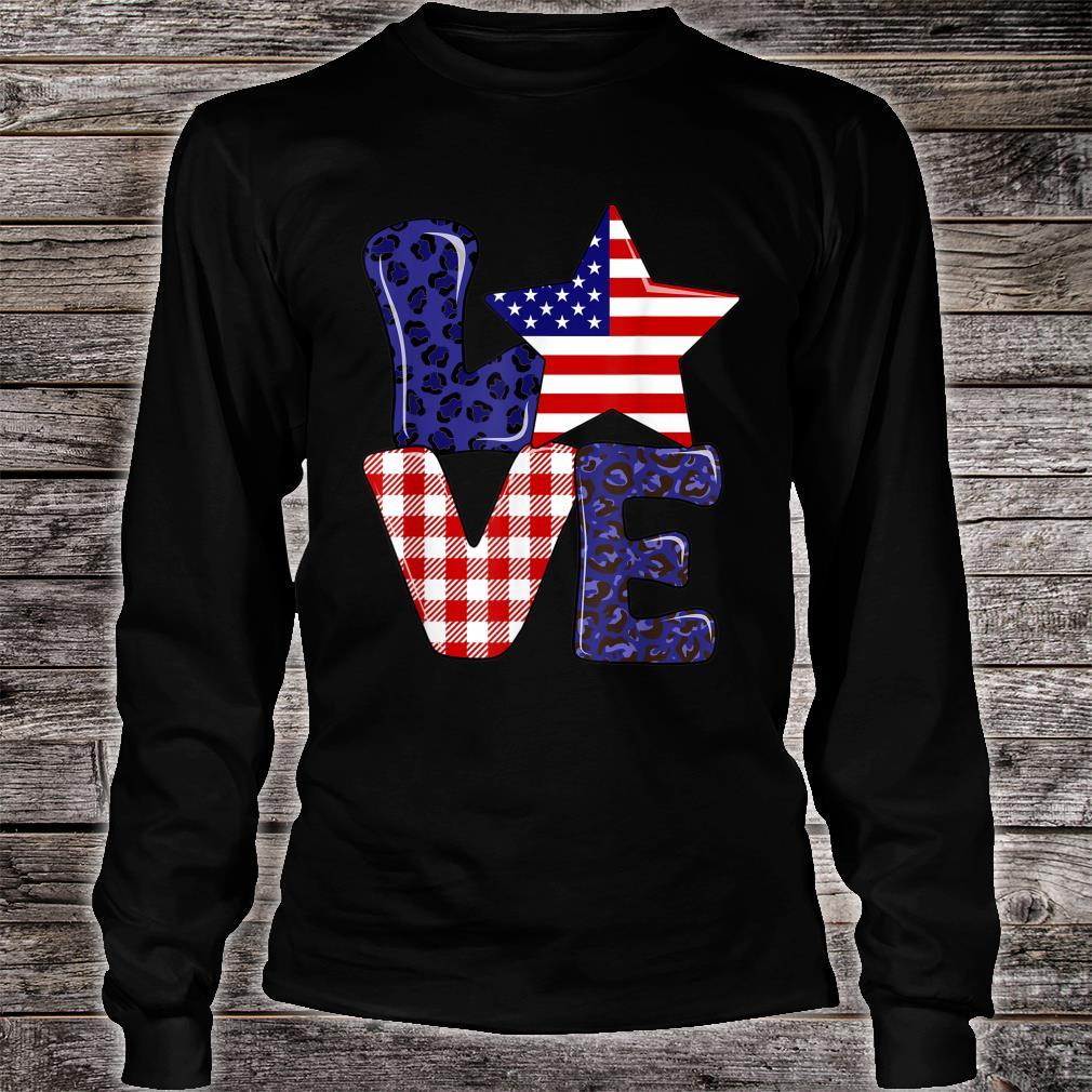 Love USA 4th Of July Independence Day Leopard And Plaid Shirt long sleeved