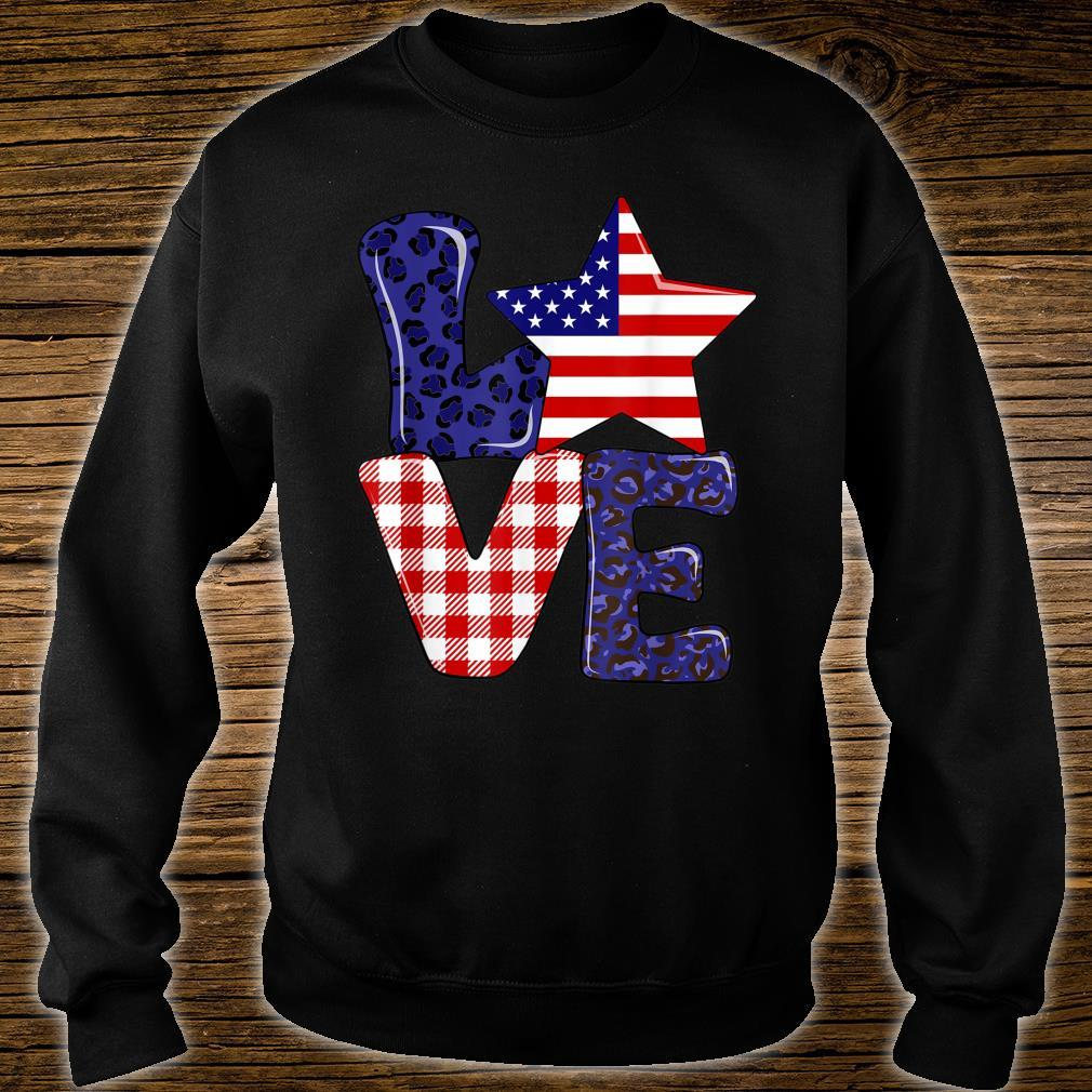 Love USA 4th Of July Independence Day Leopard And Plaid Shirt sweater