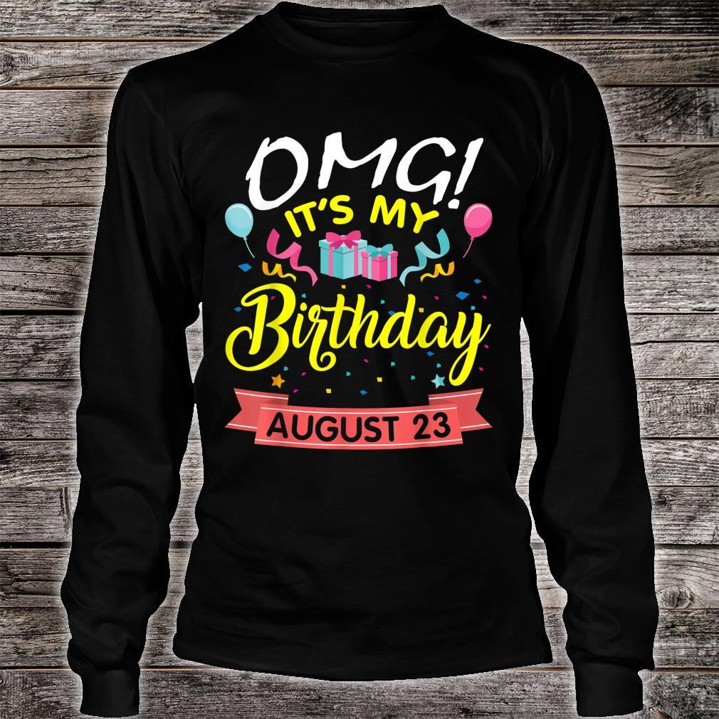 Stars Balloons Cakes OMG It's My Birthday On August 23 Shirt long sleeved