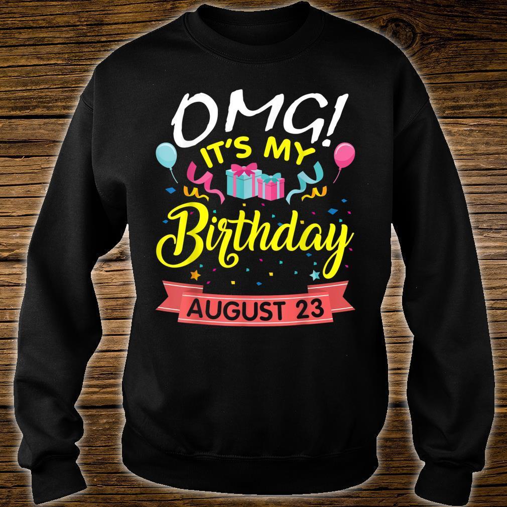 Stars Balloons Cakes OMG It's My Birthday On August 23 Shirt sweater